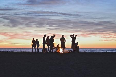 campfire, beach, people, party, sunset, twilight, dusk