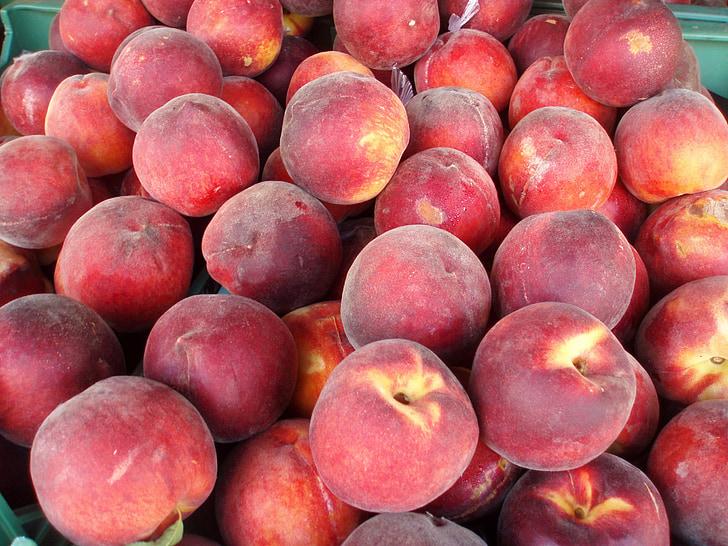 persiki, garšīgi persiki, Persiks, jauks, sarkana, garšīgi, augļi