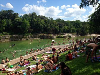 úszás, úszni, vízparton, folyó, víz, medence, szabadidő