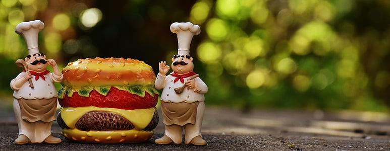 xefs, figures, hamburguesa amb formatge, hamburguesa, divertit, cuinar, gastronomia