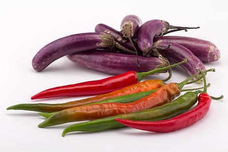 baklažaan, paprika, tšillipipar, köögiviljad, taimne, toidu, värskuse