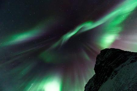 Aurora borealis, tối, đêm, đèn phía bắc, bầu trời, ngôi sao, Thiên nhiên