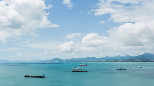 sea, ship, blue sky, white cloud, mountain, sunny days, sanya