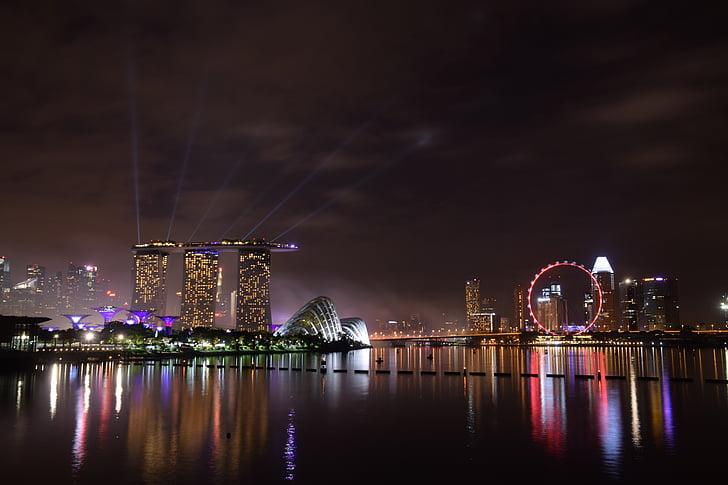 η περιοχή Marina bay, Σιγκαπούρη, ορόσημο, στον ορίζοντα, προκυμαία