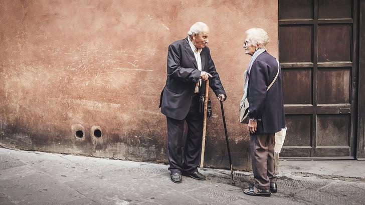 lidé, staré, starší pacienti, muž, Žena, mluvit, mimo
