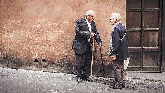 persone, vecchio, anziani, uomo, donna, ne, di fuori