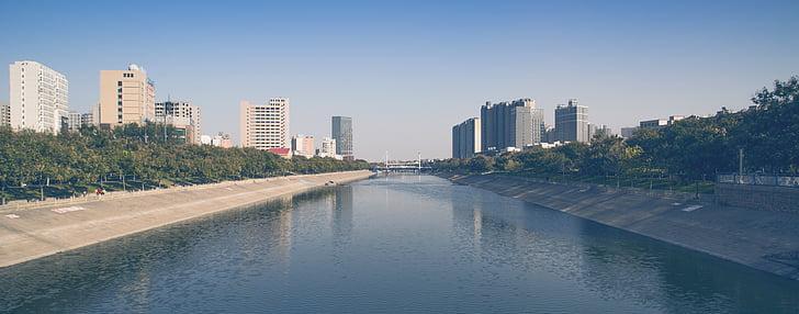 Zhengzhou, Dong feng qu, u troje, grad, Rijeka, most, parka