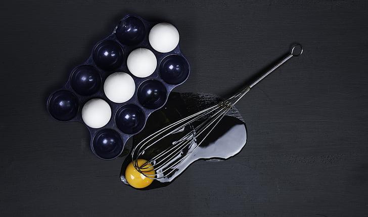 blue, container, egg mixer, eggs, kitchen utensil, white, yolk
