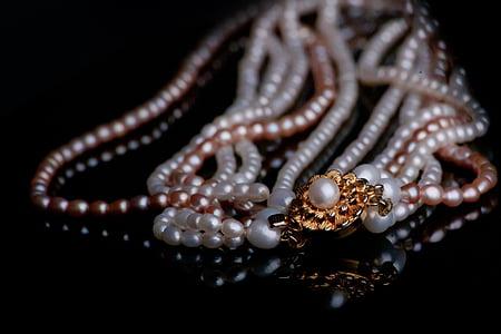 joieria, Cadena, Collaret de perles, perles, or, Collaret, brillant