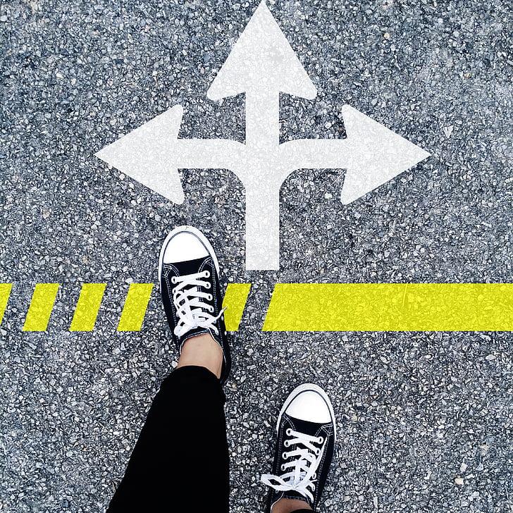 choose the right direction, career direction, direction, asphalt, street, road, shoe