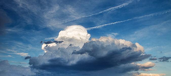 chmury, niebo, Burza, chmury, niebo, wyczyścić, panoramy