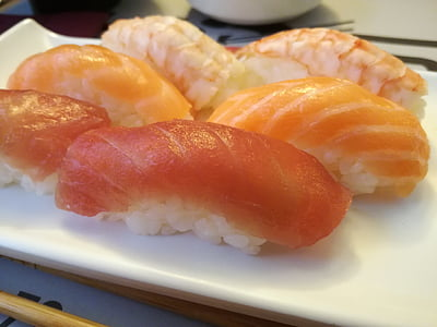 nigiri, Sushi, salmone, tonno, gamberetti, cucina, riso