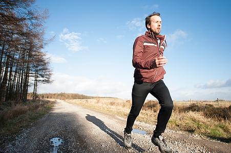pessoas, homem, exercício, movimentando-se, desporto, executar, estrada
