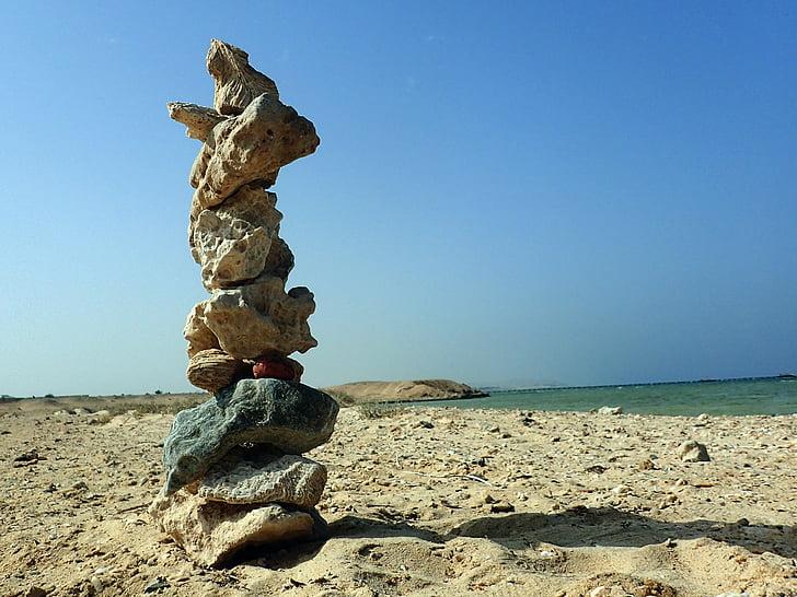 méditation, plage, pierres, Balance, mer