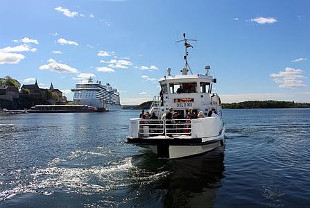 Oslo, Norge, hamn, Oslofjorden, staden, fartyg, sommar