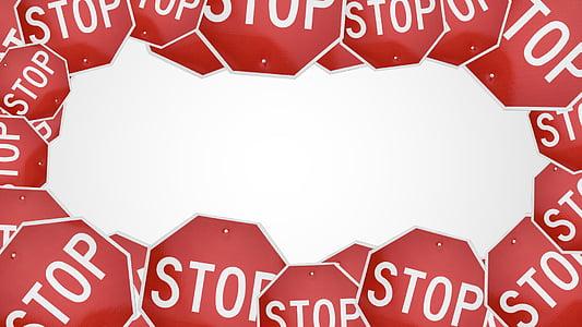 parada, signe, trànsit, perill, Avís, precaució, carretera
