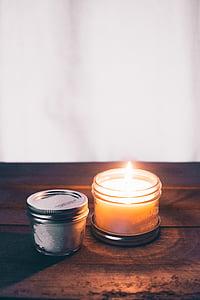 Aromaterapi, aromatiske, lyse, brændt, stearinlys, Candlelight, flamme