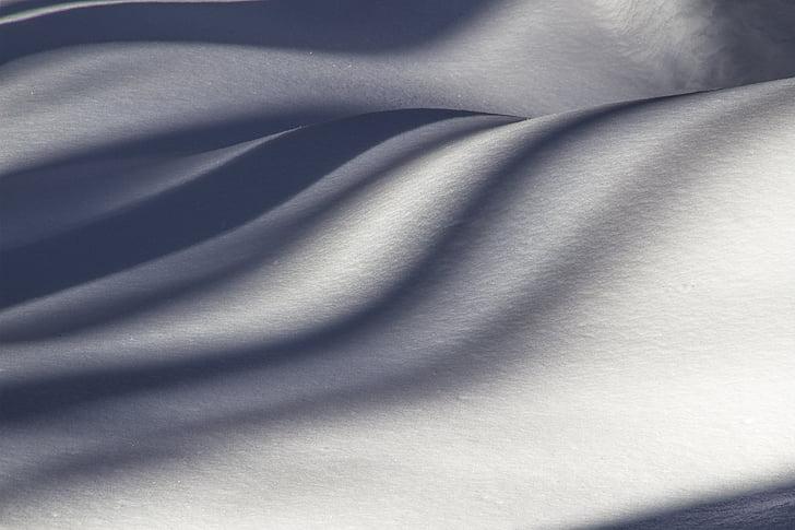 lumme, lumi, Uus-Meremaa, lumi triibud, talvel, valguse ja varju, valge