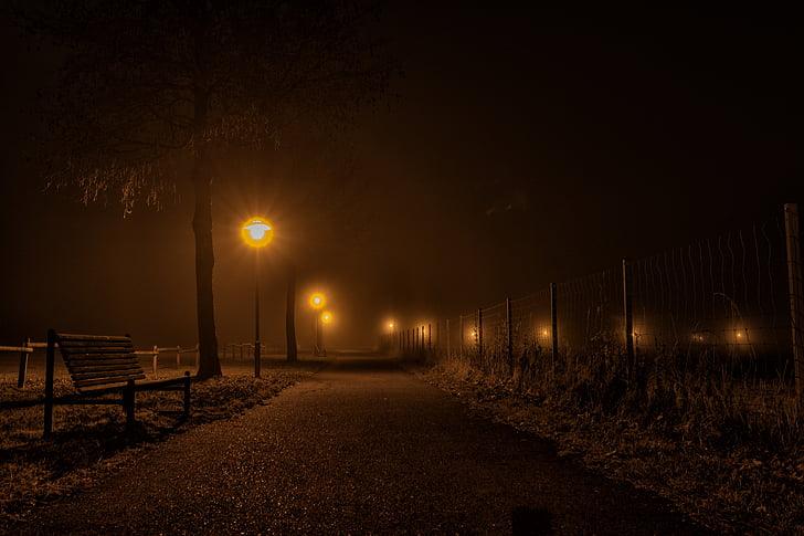 밤, 저녁, 구름, 황혼, 분위기, abendstimmung, 라인