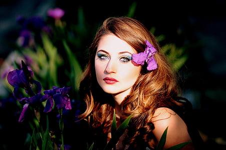 noia, mov, flors, Iris, ulls blaus, rossa, bellesa