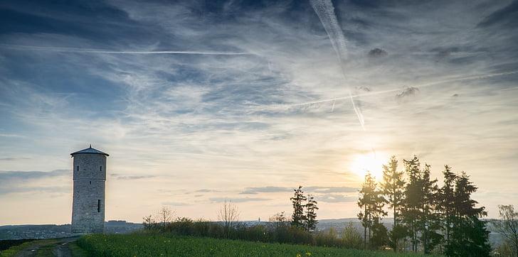 Vaade, sinine taevas, Tower, loodus, taevas, pilve - taevas
