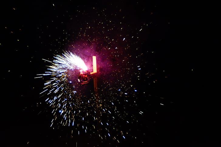 tűz, tűzijáték, nap, objektum, esztergálás, spray, sötét