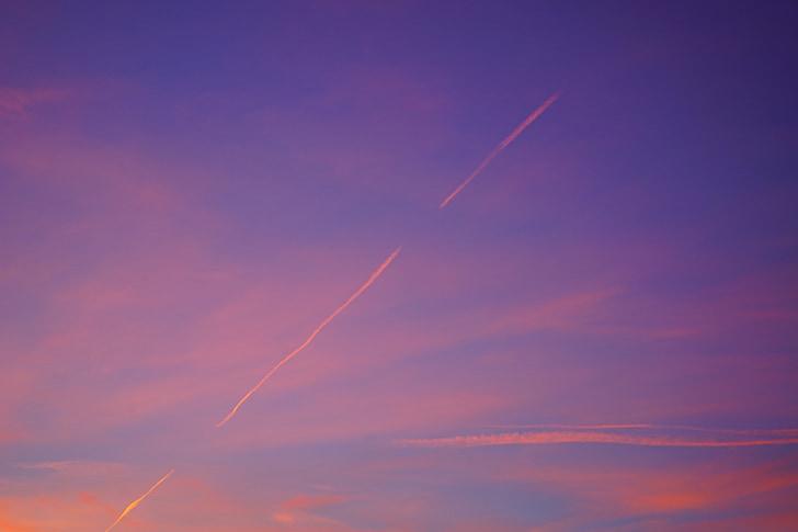 esteira de fumaça, céu, pastellfarben, pôr do sol, nascer do sol, vermelho, avermelhado