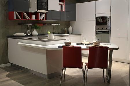 cuina, mobles, interior, cuinar, casa, menjar, cuina moderna