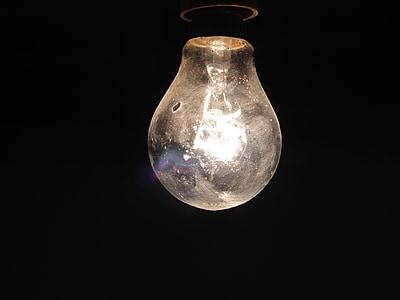 glödlampa, ljus, elektricitet, energi, glas, idén, lampan