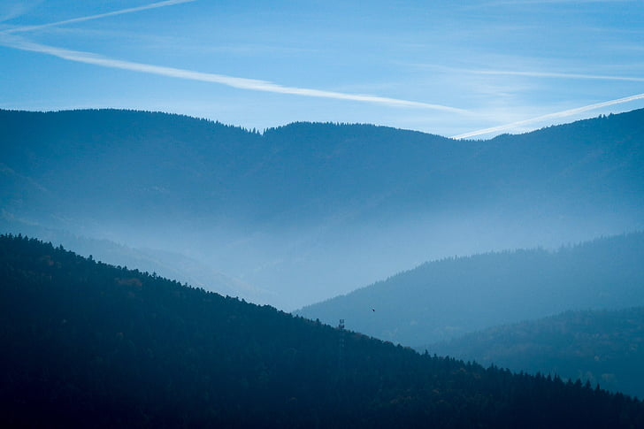 Black forest, kalni, ainava, rudens, meža, kalna, zila
