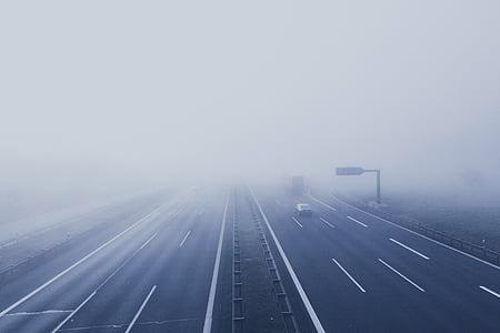 đường cao tốc, sương mù, xe, đường, cách, Lane, xe hơi