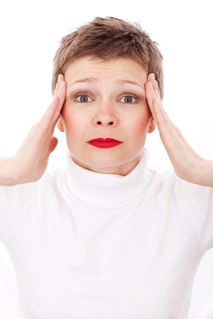 adult, femella, mal de cap, malaltia, migranya, dolor, dolorosa