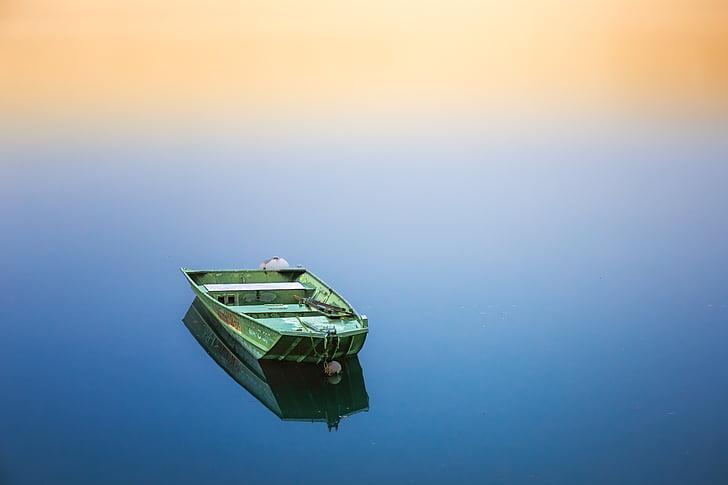 Boot, cichy, wody, pływać łódką, reszta, odzyskiwanie, Zen