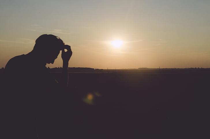 person, male, man, sitting, thinking, sun, light