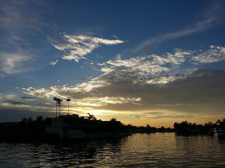 cel, Mar, paisatge, mar en calma, posta de sol