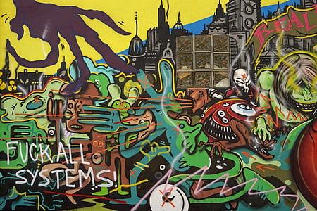 grafiti, sprayer, seni, lukisan dinding, lukisan, hauswand