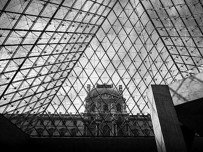 Louvre, muuseum, Louvre muuseum, kohta, arhitektuur, nostalgia, vana