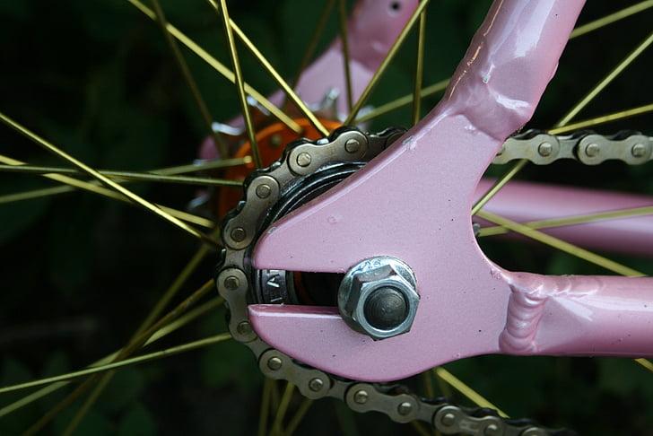 pogled, bicikl kotača, žbice, metala, biciklizam, komponenta, bicikl