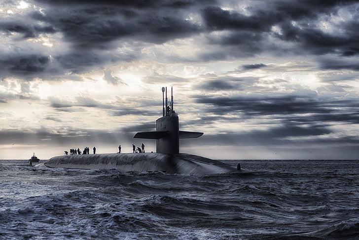 submarino, barco, mar, oceano, água, céu, nuvens