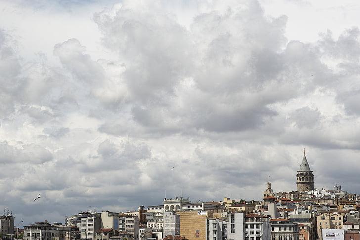 istanbul, galata tower, throat, bosphorus, turkey, sky, galata