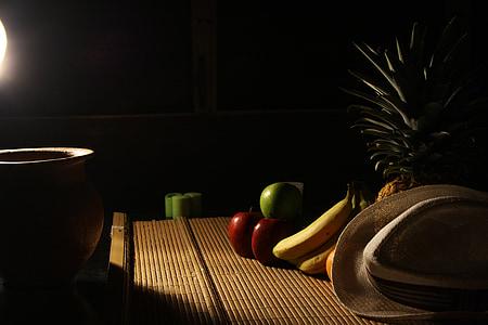 bodegons, una llum, fruita, foscor, decoració, medi ambient, Jo sóc un estudiant