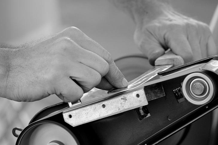sharpen, knife, craft, hand, job