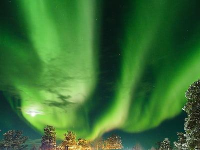 aurora borealis, Finland, Inari, grøn farve, nat, natur, scenics