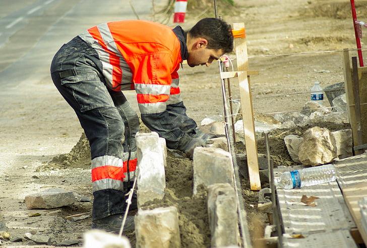 worker, masonry, concrete, stones, manual Worker, working, men