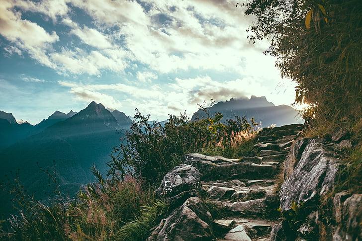 debesys, kraštovaizdžio, kalnų grandinė, kalnai, Gamta, kelias, akmenų