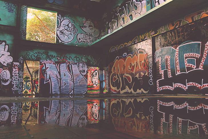 graffiti, spray, festészet, falfestmény, spray festék, Art, fal