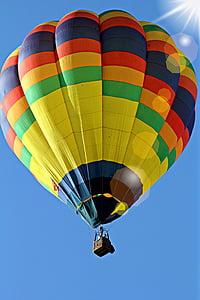 calenta, aire, globus, vol en globus, volant, l'estiu, colors