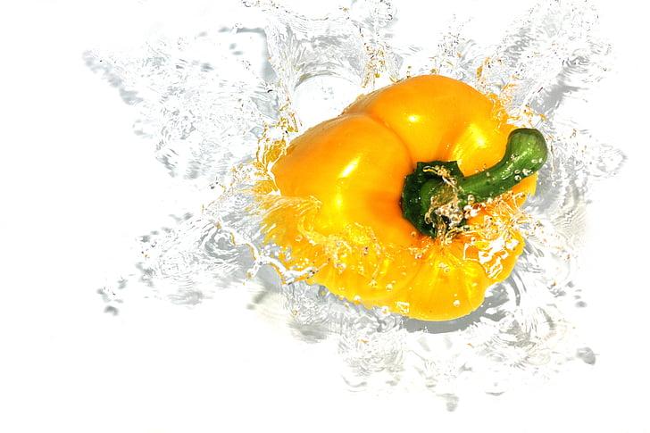 paprika, mat, peppar, Splash, vegetabiliska, vatten, vattenstänk