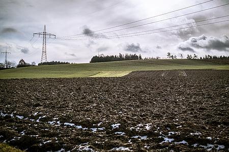 поле, орни, облаците, мощност полюси, земята, обработваема земя, небе