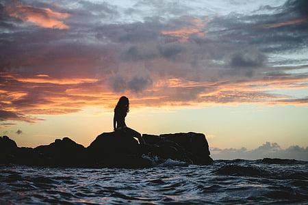 stranden, Dawn, skymning, naturen, Ocean, Utomhus, person